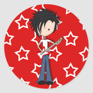 Cute Teen Emo Boy Rock Guitarist with Black Hair Round Stickers