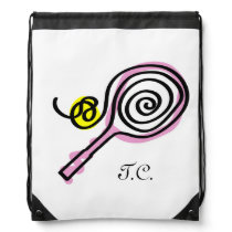 Cute tennis bag | monogram drawstring backpack