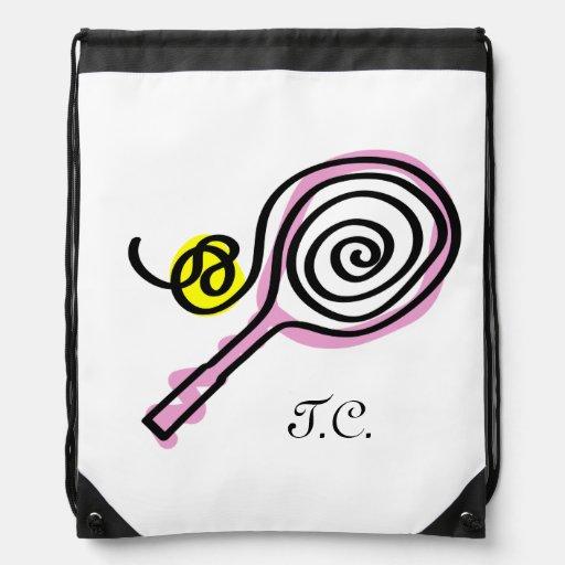 Cute tennis bag | monogram drawstring backpack
