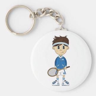 Cute Tennis Boy Magnet Basic Round Button Keychain