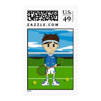 Cute Tennis Boy Postage Stamp