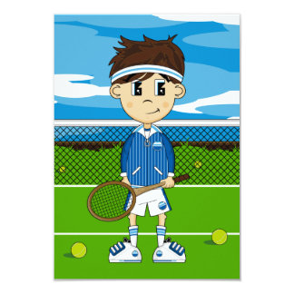 Cute Tennis Boy RSVP Card Personalized Invites