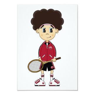 Cute Tennis Boy RSVP Card Custom Invitations