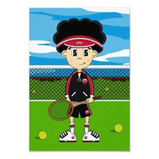 Cute Tennis Boy RSVP Card Personalized Invitation