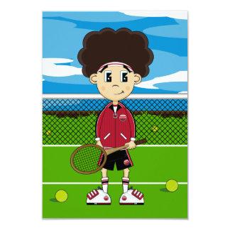Cute Tennis Boy RSVP Card Announcement