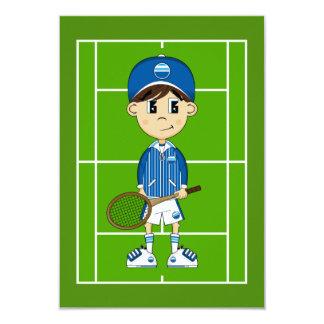Cute Tennis Boy RSVP Card Announcements