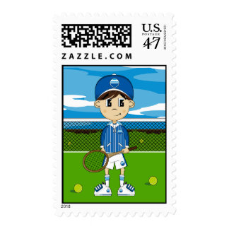 Cute Tennis Boy Stamp