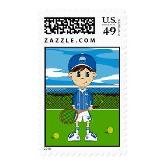 Cute Tennis Boy Stamp