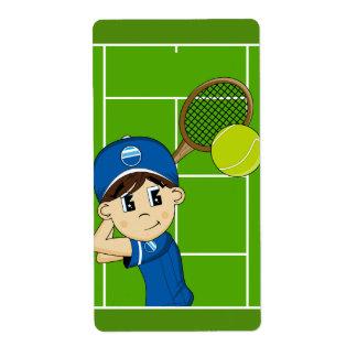 Cute Tennis Boy Sticker Label