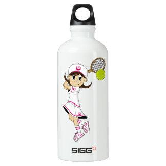 Cute Tennis Girl Aluminum Water Bottle