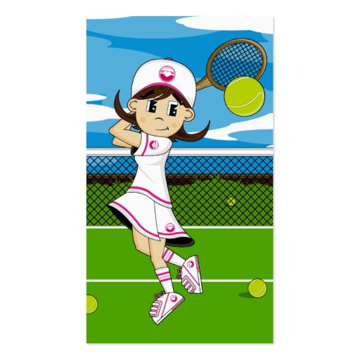 Cute Tennis Girl Bookmark Double-Sided Standard Business Cards (Pack Of 100)