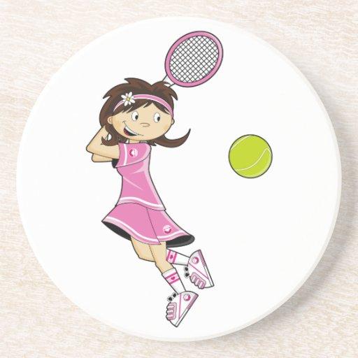 Cute Tennis Girl Coaster Zazzle
