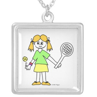 Cute Tennis Girl Necklace