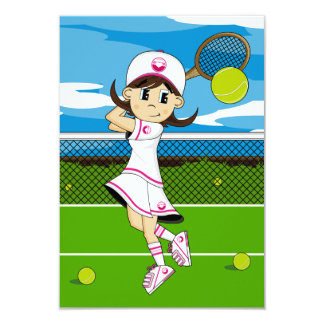 Cute Tennis Girl RSVP Card