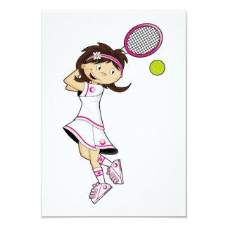 Cute Tennis Girl RSVP Card Custom Announcements
