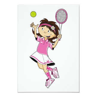 Cute Tennis Girl RSVP Card Invitations