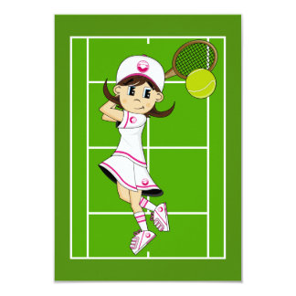 Cute Tennis Girl RSVP Card Custom Invitation