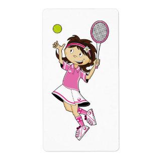 Cute Tennis Girl Sticker Label