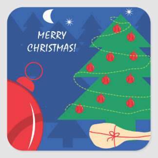 Cute tennis themed Merry Christmas party favor Square Sticker