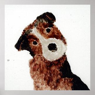Cute Terrier Dog Art Poster