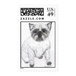 Cute Terrier Dog pen and ink postage