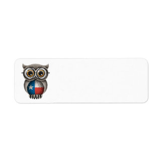 Cute Texas Flag Owl Wearing Glasses Label