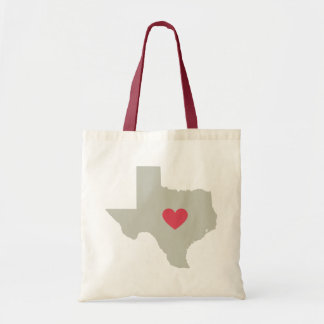 Cute Texas State with Red Heart Tote Bag