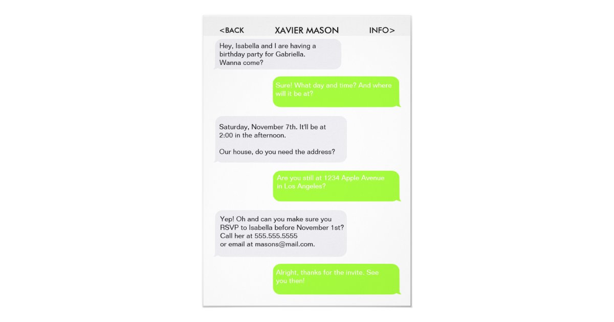 Text Message Invitations Announcements Zazzle - Birthday invitation text messages