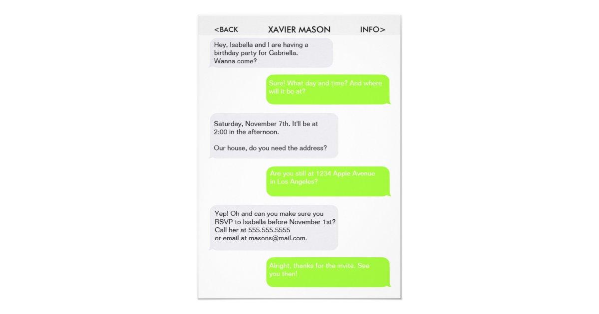 Text Message Invitations & Announcements | Zazzle