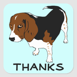 Cute Thank You  Beagle Puppy Dog Greeting Stickers