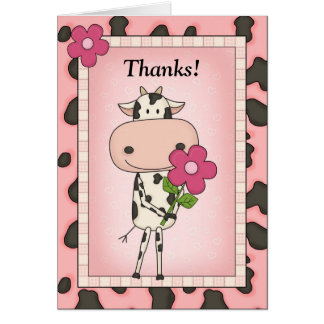 Cute Thank You - Cow Flower Cards