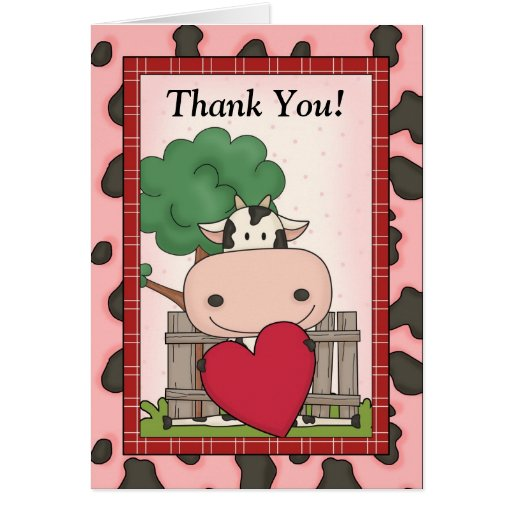 Cute Thank You - Cow & Heart Cards