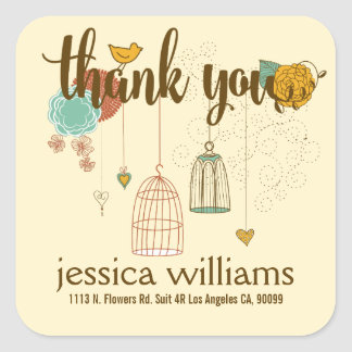 Cute Thank You Design Wedding Birds & Flowers Square Sticker
