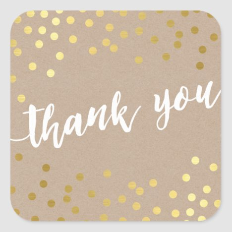 CUTE THANK YOU gold confetti handdrawn type kraft Square Sticker