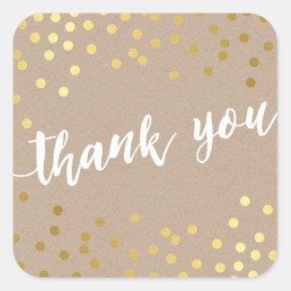 CUTE THANK YOU gold confetti handdrawn type kraft Square Sticker