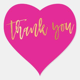 CUTE THANK YOU HEART modern gold bright pink Heart Sticker