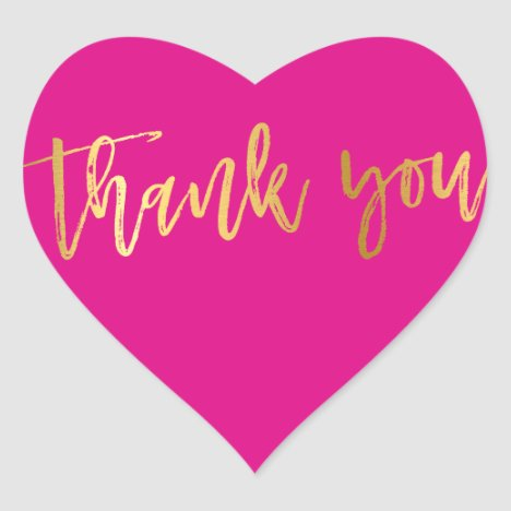 CUTE THANK YOU HEART modern gold bright pink Heart Sticker
