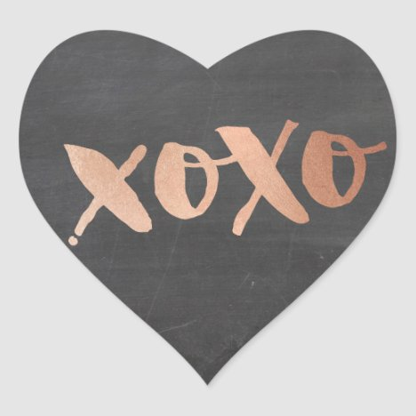 CUTE THANK YOU HEART modern rose gold chalkboard Heart Sticker
