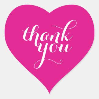 CUTE THANK YOU HEART SEAL modern plain bright pink Heart Sticker