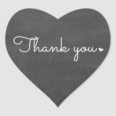 CUTE THANK YOU HEART SEAL modern script chalkboard