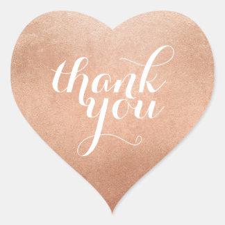 CUTE THANK YOU HEART SEAL modern script rose gold Heart Sticker