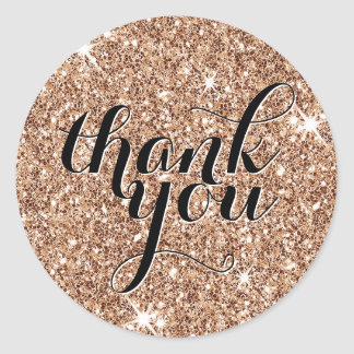 CUTE THANK YOU modern simple glitter copper black Classic Round Sticker
