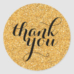 CUTE THANK YOU modern simple glitter gold black Sticker