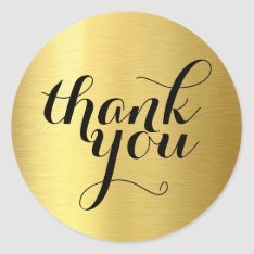 Cute Thank You Modern Simple Shiny Gold Foil Classic Round Sticker at Zazzle