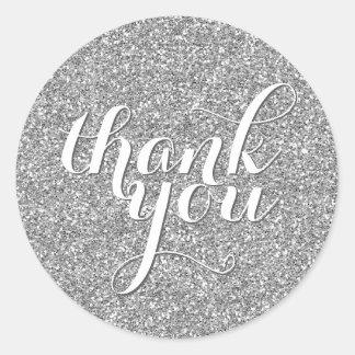 CUTE THANK YOU SEAL modern simple glitter silver Classic Round Sticker