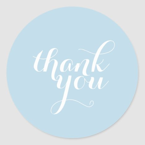 CUTE THANK YOU SEAL modern simple plain baby blue
