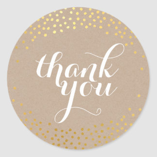 CUTE THANK YOU SEAL rustic gold confetti kraft