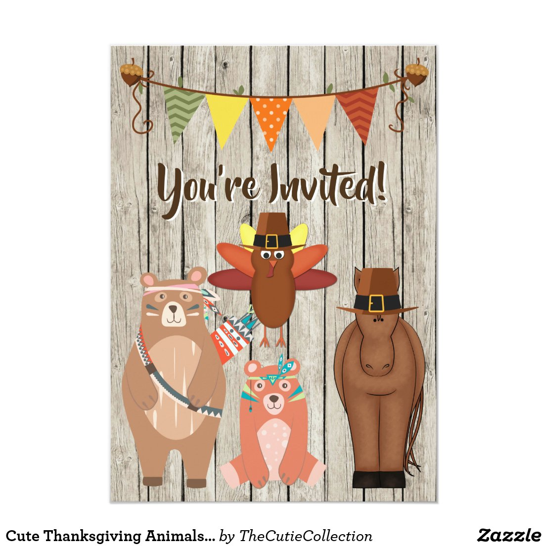Cute Thanksgiving Animals and Turkey 1st Birthday Invitation