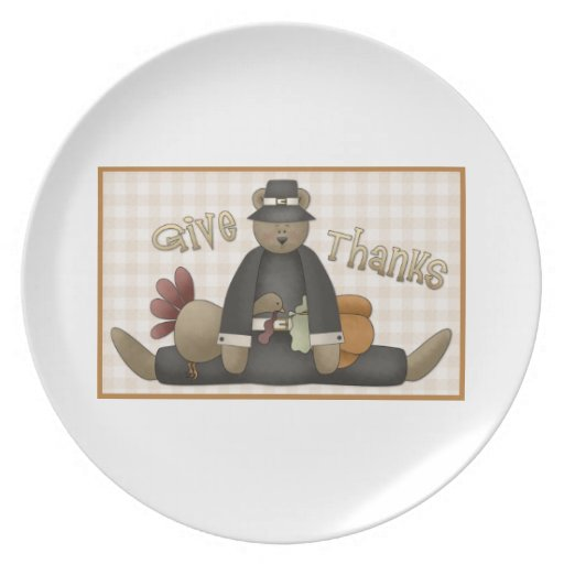Cute Thanksgiving Bear Tees and Gifts Plates