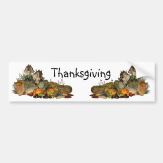 Cute Thanksgiving Bumper Sticker With Squirel